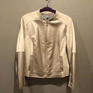 Andrew Marc NY Cream & Gold Racer Jacket